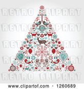 Vector Clip Art of Retro Christmas Tree Made of up Holiday Items on Shading by OnFocusMedia