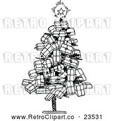 Vector Clip Art of Retro Christmas Tree of Gifts by Prawny Vintage