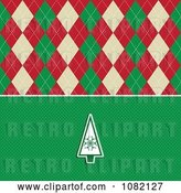Vector Clip Art of Retro Christmas Tree over Green Dots with Argyle by KJ Pargeter