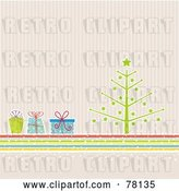 Vector Clip Art of Retro Christmas Tree with Colorful Presents over Pastel Stripes by KJ Pargeter