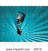 Vector Clip Art of Retro Chrome Microphone over a Background of Rays of Blue Light by KJ Pargeter