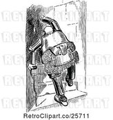 Vector Clip Art of Retro Chubby Old Knight Climbing Stairs with a Cane by Prawny Vintage