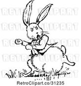 Vector Clip Art of Retro Chubby Rabbit Running by Prawny Vintage
