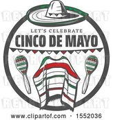 Vector Clip Art of Retro Cinco De Mayo Design with a Sombrero, Poncho and Maracas by Vector Tradition SM