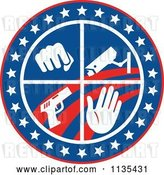 Vector Clip Art of Retro Circle of a Fist Surveillance Security Camera Pistol and Hand with Stars and Stripes by Patrimonio