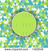 August 14th, 2018: Vector Clip Art of Retro Circle over a Geometric Background in Green Blue and White Tones by KJ Pargeter