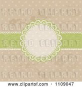 Vector Clip Art of Retro Circular Frame with a Green Ribbon on Grungy Polka Dots by KJ Pargeter