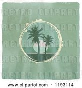 Vector Clip Art of Retro Circular Scene of a Tropical Ocean Sunset with Palm Trees on Distressed Green Wood, with a White Border by Elaineitalia