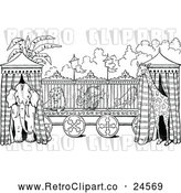 March 21st, 2018: Vector Clip Art of Retro Circus Animal Cage and Tents by Prawny Vintage