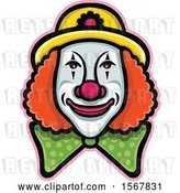 Vector Clip Art of Retro Circus Clown Face by Patrimonio