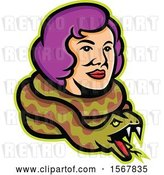 Vector Clip Art of Retro Circus Freak Lady Snake Charmer with a Python Around Her Neck by Patrimonio