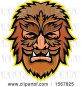 Vector Clip Art of Retro Circus Freak Wolfman Head Mascot by Patrimonio