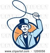 Vector Clip Art of Retro Circus Ring Master Guy Cracking a Whip over a Circle by Patrimonio