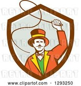 Vector Clip Art of Retro Circus Ringmaster Using a Bull Whip in a Brown White and Gray Shield by Patrimonio