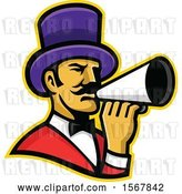 Vector Clip Art of Retro Circus Ringmaster Using a Megaphone by Patrimonio