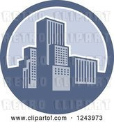 Vector Clip Art of Retro City in a Blue Circle by Patrimonio