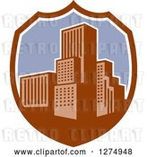 Vector Clip Art of Retro City in a Brown White and Purple Shield by Patrimonio