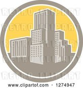 Vector Clip Art of Retro City in a Tan White and Yellow Circle by Patrimonio