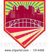 Vector Clip Art of Retro City Skyline and Bridge in a Shield with Rays by Patrimonio