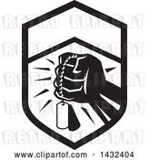 Vector Clip Art of Retro Clenched Fist Holding Military Dog Tags in a Crest by Patrimonio