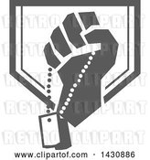Vector Clip Art of Retro Clenched Fist Holding Military Dog Tags in a Gray and White Crest by Patrimonio