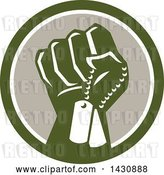 Vector Clip Art of Retro Clenched Fist Holding Military Dog Tags in a Green White and Taupe Circle by Patrimonio