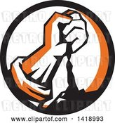 Vector Clip Art of Retro Clenched Fist Pouring Dirt in a Black Orange and White Circle by Patrimonio