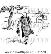 Vector Clip Art of Retro Clergyman Walking Through a Cemetery by Prawny Vintage