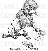 Vector Clip Art of Retro Clever Poodle Playing Cards by Prawny Vintage