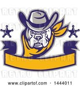 Vector Clip Art of Retro Clipart of a | Cowboy Bulldog Sheriff with Stars over a Blank Banner| Royalty Free Vector Illustration by Patrimonio