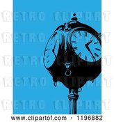 Vector Clip Art of Retro Clock Post over Blue by Maria Bell