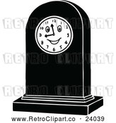 Vector Clip Art of Retro Clock with a Face by Prawny Vintage