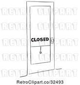 Vector Clip Art of Retro Closed Shop by Picsburg