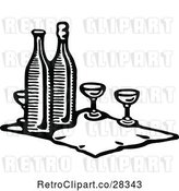 Vector Clip Art of Retro Cloth with Wine Bottles and Glasses by Prawny Vintage