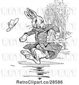 Vector Clip Art of Retro Clothed Rabbit Jumping into Water by Prawny Vintage