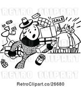 Vector Clip Art of Retro Clumsy Shopper at a Sale by Prawny Vintage