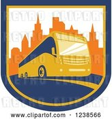 Vector Clip Art of Retro Coach City Bus in a Shield with Skyscrapers by Patrimonio