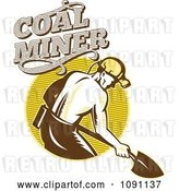 Vector Clip Art of Retro Coal Miner Digging with a Shovel and Text by Patrimonio