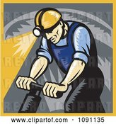 Vector Clip Art of Retro Coal Miner Drilling by Patrimonio