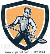 Vector Clip Art of Retro Coal Miner Guy Shoveling in a Black White and Orange Shield by Patrimonio