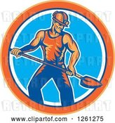 Vector Clip Art of Retro Coal Miner Guy Shoveling in an Orange Blue and White Circle by Patrimonio