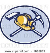 Vector Clip Art of Retro Coal Miner Hard Hat and Head Lamp with a Crossed Pickaxe and Sledge Hamme in a Blue Oval by Patrimonio
