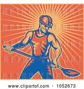 Vector Clip Art of Retro Coal Miner Holding a Shovel, over Orange Rays by Patrimonio