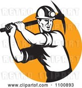 Vector Clip Art of Retro Coal Miner Swinging a Pick Ax over an Orange Circle by Patrimonio