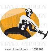 Vector Clip Art of Retro Coal Miner Swinging a Pick Ax over an Oval by Patrimonio