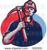 Vector Clip Art of Retro Coal Miner with a Hard Hat and Pick Axe over a Blue and Red Oval by Patrimonio