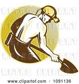 Vector Clip Art of Retro Coal Miner with a Shovel and Lined Circle by Patrimonio