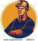Vector Clip Art of Retro Coal Miner Worker with Folded Arms and a Hard Hat over a Lined Circle by Patrimonio