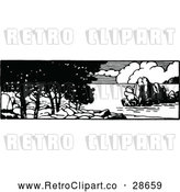 Vector Clip Art of Retro Coastal Panorama by Prawny Vintage