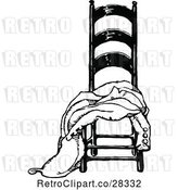 Vector Clip Art of Retro Coat Draped on a Chair by Prawny Vintage